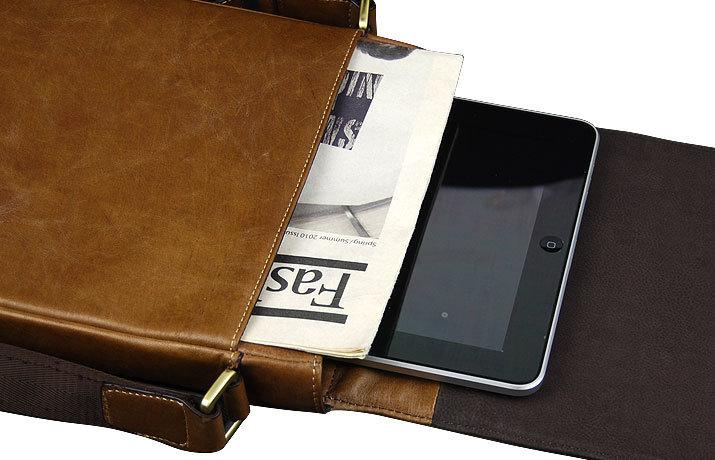 Handmade Leather Tablet Messenger Bag - Light Brown - Nixeycles ... 076313c9d63fd